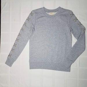 Michael Kors Gold Grommet Lace Up Sweatshirt